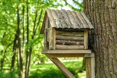Casa en el árbol de madera para los pájaros Foto de archivo libre de regalías