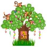 Casa en el árbol y mono stock de ilustración