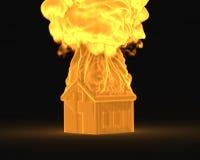 Casa en el concepto del fuego Fotos de archivo libres de regalías