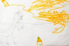 Casa en el dibujo del niño del peligro Foto de archivo