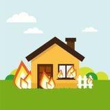 Casa en el fuego Fotos de archivo