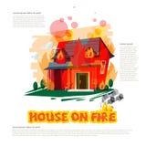Casa en el fuego con el diseño tipográfico - vector ilustración del vector