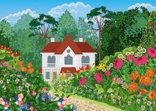Casa en el jardín Imágenes de archivo libres de regalías