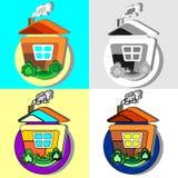 Casa en el pueblo Iconos stock de ilustración