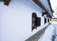 Casa en el pueblo Invierno, Ucrania Fotografía de archivo libre de regalías