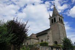 Casa en el pueblo medieval de Nernier, Haute-Saboya Francia Foto de archivo