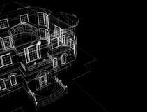 Casa en fondo negro stock de ilustración
