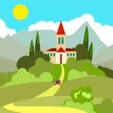 Casa en la colina en el sol caliente Imagen de archivo libre de regalías