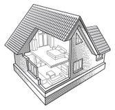Casa en la sección Imagen de archivo libre de regalías