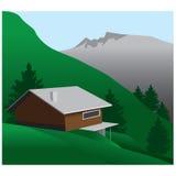 Casa en las montañas ilustración del vector