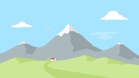 Casa en las montañas Paisaje con los picos de montaña Reconstrucción al aire libre Ejemplo plano del vector Foto de archivo libre de regalías
