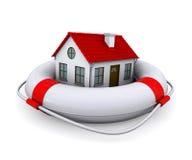 Casa en lifebuoy Foto de archivo libre de regalías