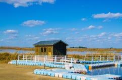 Casa en orilla del lago Imágenes de archivo libres de regalías