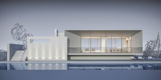 Casa en un estilo minimalista showroom representación 3d imágenes de archivo libres de regalías