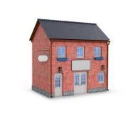 Casa en un fondo blanco Casa de dos pisos del ladrillo ilustración del vector