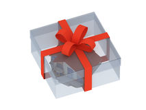 Casa en un rectángulo de regalo Foto de archivo