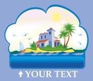 Casa en una isla tropical ilustración del vector