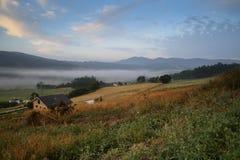 Casa en una ladera brumosa Imagen de archivo