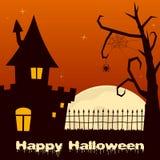Casa encantada de Halloween con el árbol Imagenes de archivo