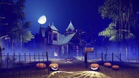 Casa encantada de Halloween en la noche brumosa 4K libre illustration