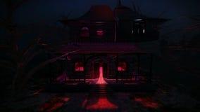 Casa encantada en el vídeo de la noche