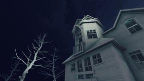 Casa encantada en la noche asustadiza 4K de la luna stock de ilustración