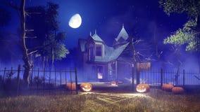 Casa encantada fantasmagórica en la noche de Halloween stock de ilustración