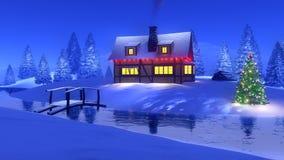 Casa entre a floresta do abeto na noite de Natal Imagens de Stock