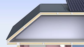 Casa esperta com os dispositivos eficientes da energia ilustração do vetor