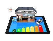 Casa esperta com os dispositivos eficientes da energia ilustração royalty free