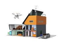 Casa esperta com os dispositivos eficientes da energia, os painéis solares e as turbinas eólicas Imagem de Stock