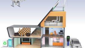 Casa esperta com os dispositivos eficientes da energia, os painéis solares e as turbinas eólicas ilustração do vetor