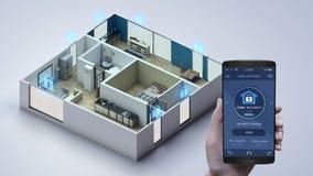 Casa esperta de IoT, aparelho eletrodoméstico de roulotte tocante, sistema de controlo da segurança interna Internet das coisas ilustração stock