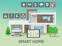 Casa esperta grande moderna Conceito liso do estilo do projeto, sistema da tecnologia com controle centralizado Ilustração do vet ilustração stock