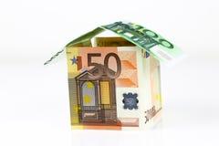 Casa euro de los billetes de banco Imágenes de archivo libres de regalías