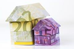 Casa euro de los billetes de banco Fotos de archivo