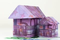 Casa euro de los billetes de banco Imagen de archivo libre de regalías