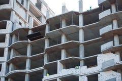 Casa europea non finita del mattone, ancora in costruzione Concetto della costruzione Fotografie Stock