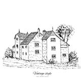Casa europea vieja de la teja del bosquejo del vector del vintage de la mansión, línea incompleta del edificio histórico Fotografía de archivo libre de regalías