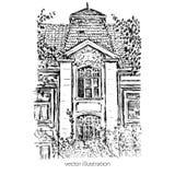 Casa europea vieja de la teja del vector del vintage, mansión dibujada mano, ejemplo gráfico, línea incompleta de la tinta histór stock de ilustración