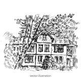 Casa europea vieja de la teja del vintage, ejemplo del gráfico de vector, grabando la mansión del bosquejo del esquema, paisaje r Foto de archivo libre de regalías