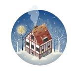 Casa europeia antiga colorida Casas de campo do aluguel Venda, Real Estate Inverno Fotos de Stock