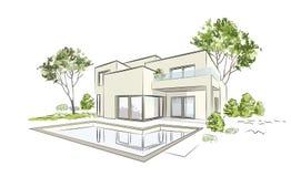 Casa exclusiva moderna del bosquejo arquitectónico del vector libre illustration