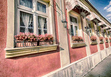Casa exterior com os vasos de flores na aguarela Foto de Stock