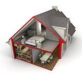 Casa exterior e interior Fotografia de Stock Royalty Free