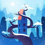 Casa fabulosa con el tejado, entrelazado con el árbol en las montañas, fondo de las colinas El tiempo del invierno, copos de niev ilustración del vector