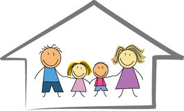 Casa familiar/casa felizes - tiragem das crianças/esboço Imagens de Stock Royalty Free