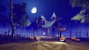 Casa fantasmagórica de Halloween en la noche de niebla 4K ilustración del vector