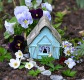 Casa feericamente bonito com as flores do verão da viola e da margarida Fotos de Stock