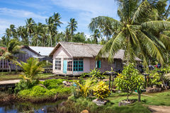 Casa feita da palha e da madeira cercadas pelas palmas no dia ensolarado Fotos de Stock